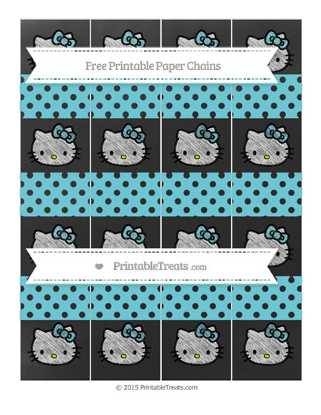 Free Pastel Teal Polka Dot Chalk Style Hello Kitty Paper Chains