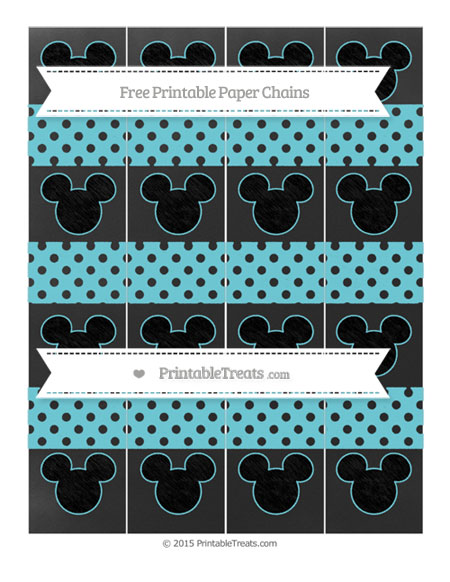 Free Pastel Teal Polka Dot Chalk Style Mickey Mouse Paper Chains