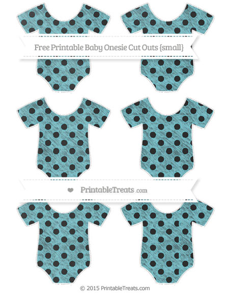 Free Pastel Teal Polka Dot Chalk Style Small Baby Onesie Cut Outs