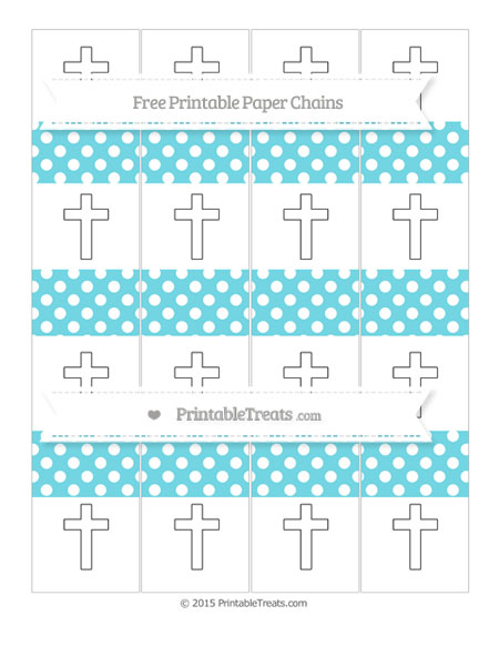 Free Pastel Teal Polka Dot Cross Paper Chains