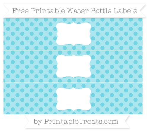 Free Pastel Teal Polka Dot Water Bottle Labels