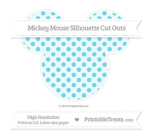 Free Pastel Teal Polka Dot Extra Large Mickey Mouse Silhouette Cut Outs