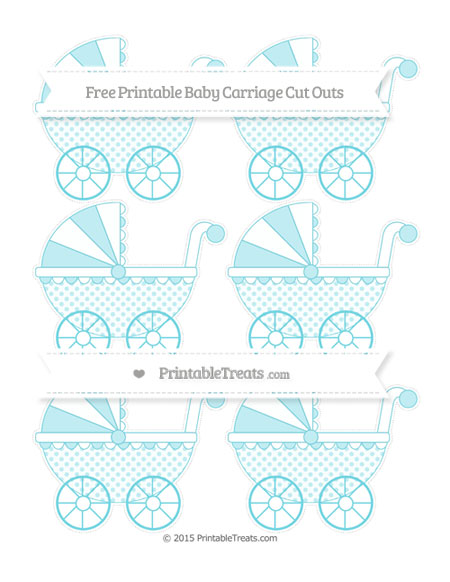 Free Pastel Teal Polka Dot Small Baby Carriage Cut Outs