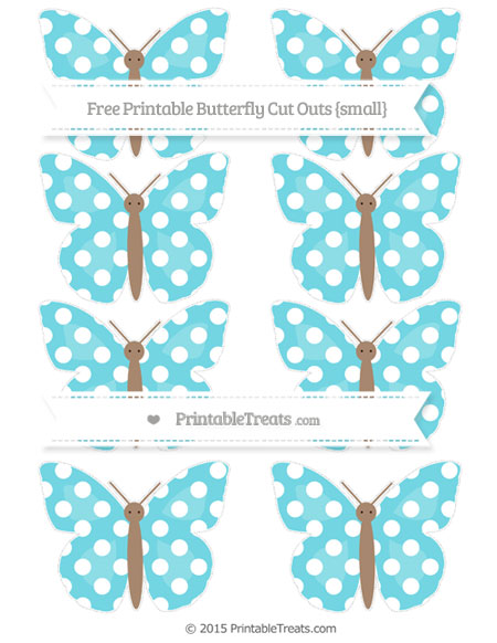 Free Pastel Teal Polka Dot Small Butterfly Cut Outs