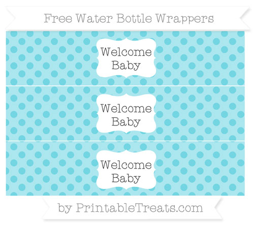 Free Pastel Teal Polka Dot Welcome Baby Water Bottle Wrappers