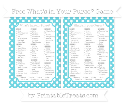Free Pastel Teal Polka Dot What's in Your Purse Baby Shower Game