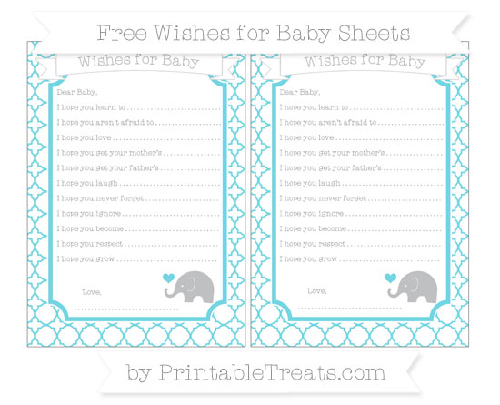 Free Pastel Teal Quatrefoil Pattern Baby Elephant Wishes for Baby Sheets