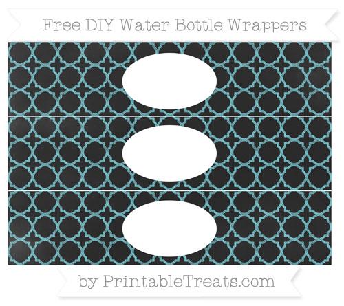 Free Pastel Teal Quatrefoil Pattern Chalk Style DIY Water Bottle Wrappers