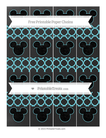 Free Pastel Teal Quatrefoil Pattern Chalk Style Mickey Mouse Paper Chains