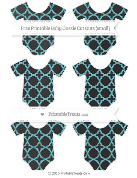 Free Pastel Teal Quatrefoil Pattern Chalk Style Small Baby Onesie Cut Outs