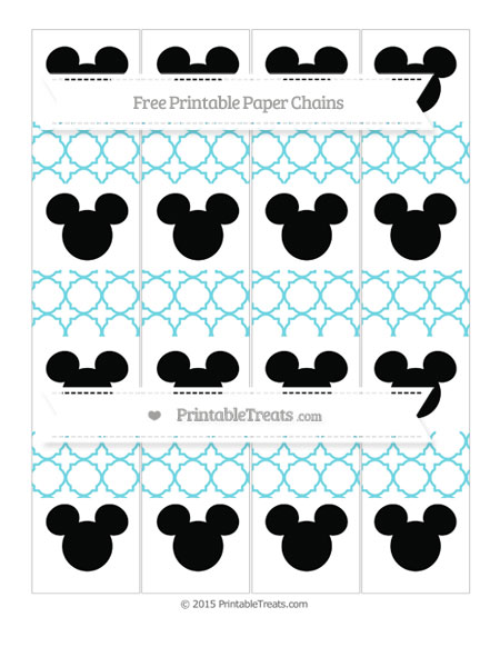 Free Pastel Teal Quatrefoil Pattern Mickey Mouse Paper Chains