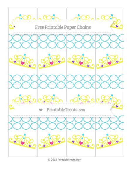 Free Pastel Teal Quatrefoil Pattern Princess Tiara Paper Chains