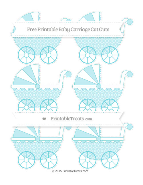 Free Pastel Teal Quatrefoil Pattern Small Baby Carriage Cut Outs