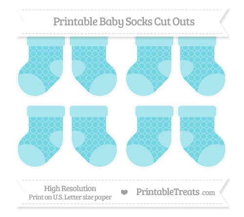 Free Pastel Teal Quatrefoil Pattern Small Baby Socks Cut Outs