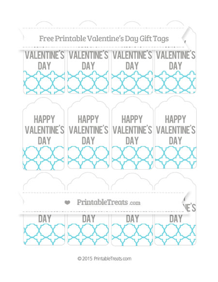 Free Pastel Teal Quatrefoil Pattern Valentine's Day Gift Tags