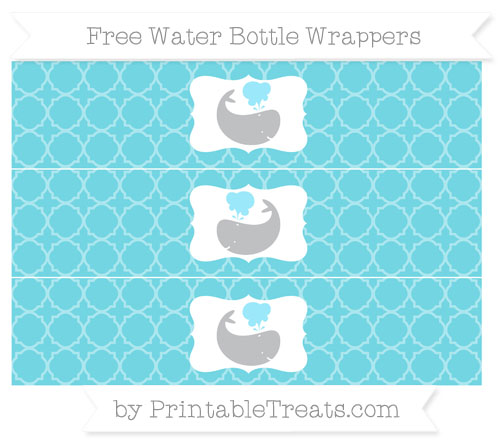 Free Pastel Teal Quatrefoil Pattern Whale Water Bottle Wrappers