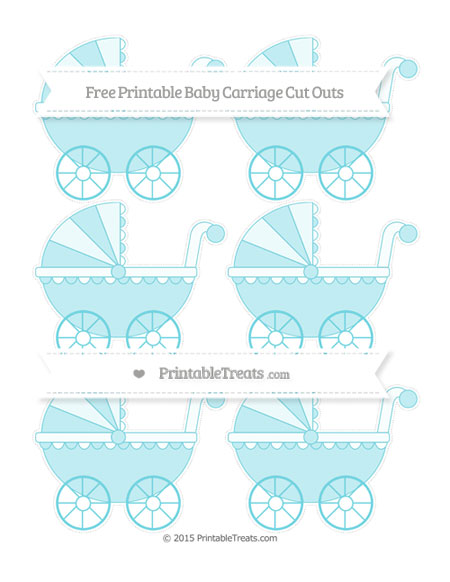 Free Pastel Teal Small Baby Carriage Cut Outs