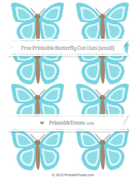 Free Pastel Teal Small Butterfly Cut Outs