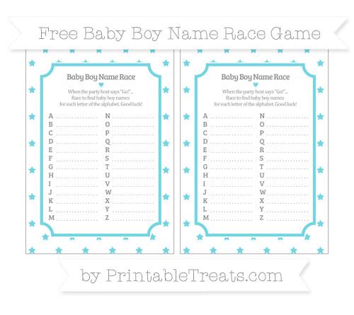 Free Pastel Teal Star Pattern Baby Boy Name Race Game