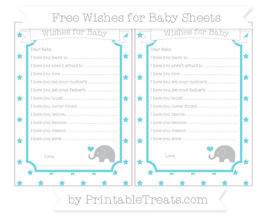 Free Pastel Teal Star Pattern Baby Elephant Wishes for Baby Sheets