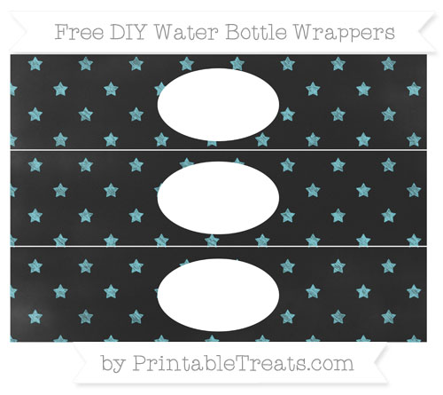 Free Pastel Teal Star Pattern Chalk Style DIY Water Bottle Wrappers