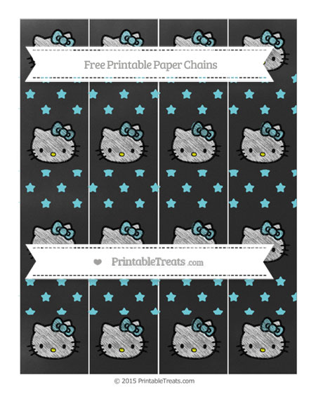 Free Pastel Teal Star Pattern Chalk Style Hello Kitty Paper Chains