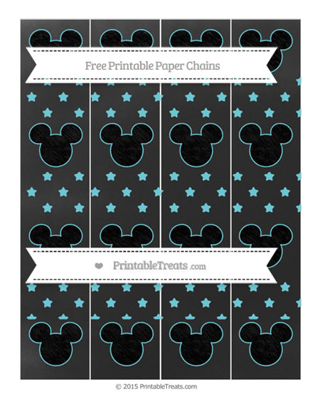 Free Pastel Teal Star Pattern Chalk Style Mickey Mouse Paper Chains