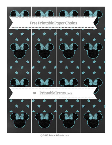 Free Pastel Teal Star Pattern Chalk Style Minnie Mouse Paper Chains