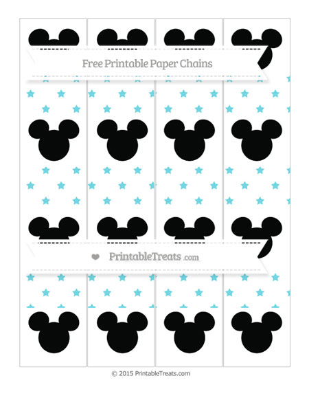 Free Pastel Teal Star Pattern Mickey Mouse Paper Chains
