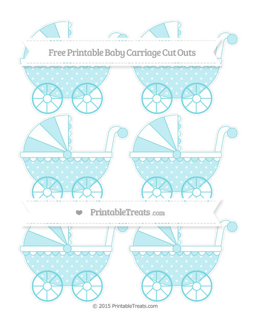 Free Pastel Teal Star Pattern Small Baby Carriage Cut Outs