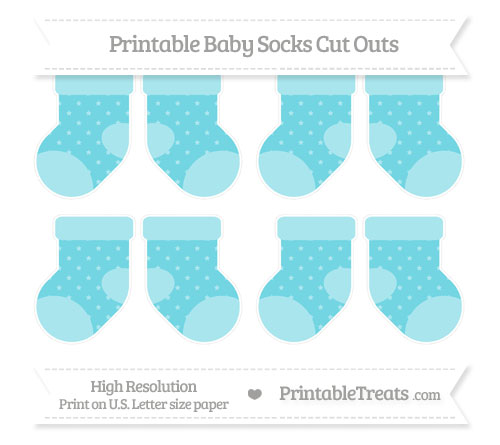 Free Pastel Teal Star Pattern Small Baby Socks Cut Outs