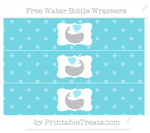 Free Pastel Teal Star Pattern Whale Water Bottle Wrappers
