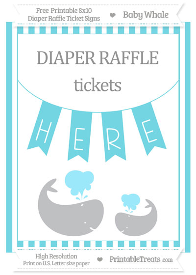 Free Pastel Teal Striped Baby Whale 8x10 Diaper Raffle Ticket Sign