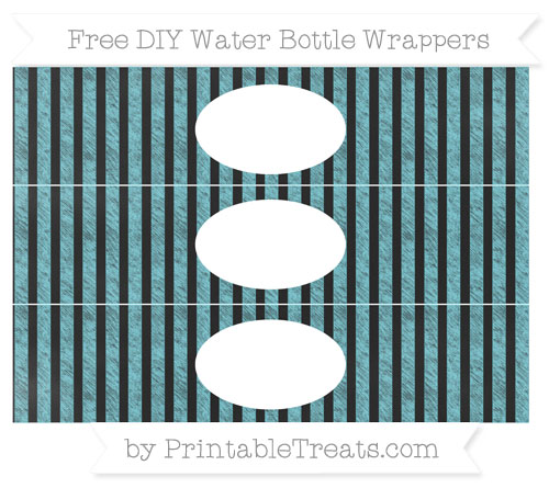 Free Pastel Teal Striped Chalk Style DIY Water Bottle Wrappers