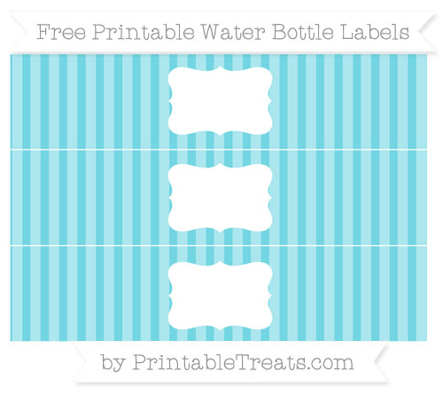 Free Pastel Teal Striped Water Bottle Labels