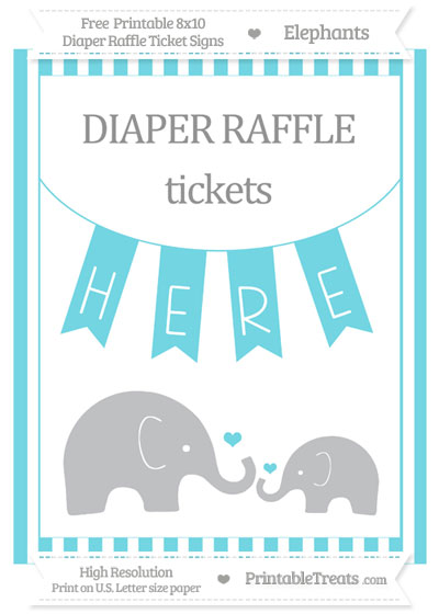 Free Pastel Teal Striped Elephant 8x10 Diaper Raffle Ticket Sign