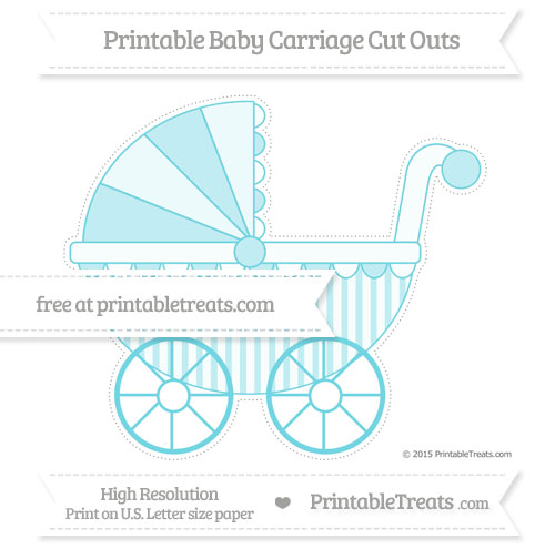 Free Pastel Teal Striped Extra Large Baby Carriage Cut Outs