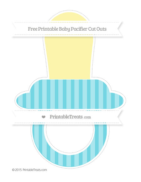 Free Pastel Teal Striped Extra Large Baby Pacifier Cut Outs