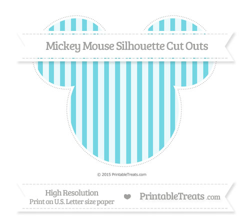 Free Pastel Teal Striped Extra Large Mickey Mouse Silhouette Cut Outs