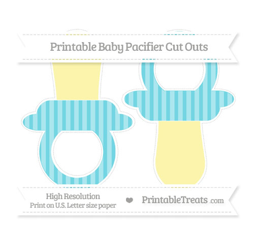 Free Pastel Teal Striped Large Baby Pacifier Cut Outs