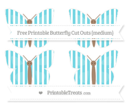 Free Pastel Teal Striped Medium Butterfly Cut Outs
