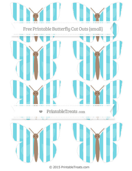 Free Pastel Teal Striped Small Butterfly Cut Outs
