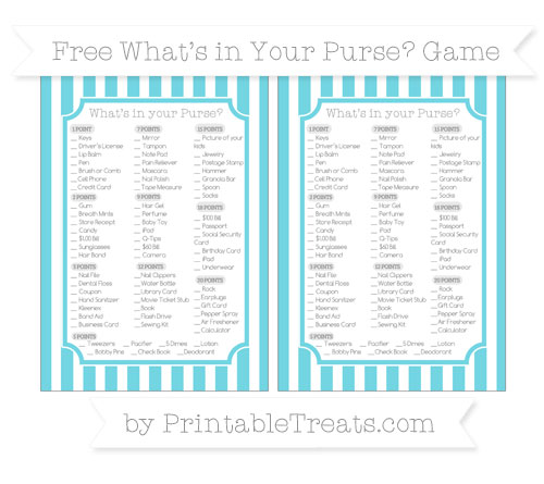 Free Pastel Teal Striped What's in Your Purse Baby Shower Game