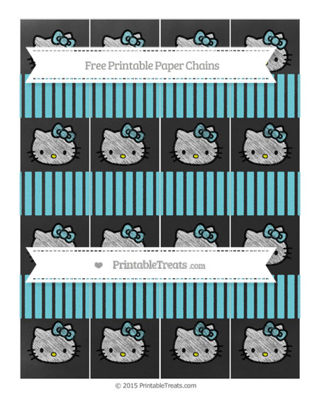 Free Pastel Teal Thin Striped Pattern Chalk Style Hello Kitty Paper Chains
