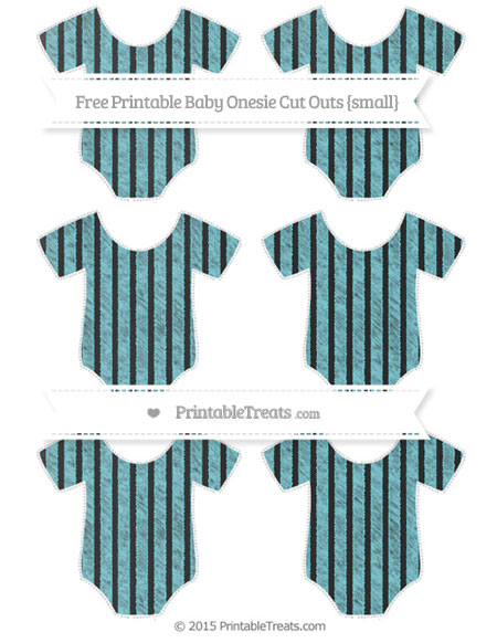 Free Pastel Teal Thin Striped Pattern Chalk Style Small Baby Onesie Cut Outs