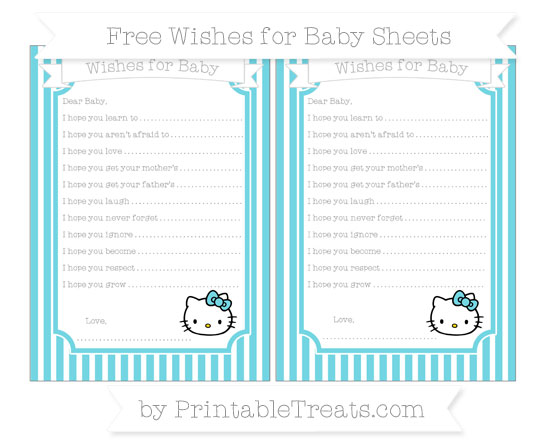 Free Pastel Teal Thin Striped Pattern Hello Kitty Wishes for Baby Sheets