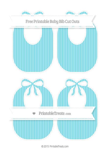 Free Pastel Teal Thin Striped Pattern Medium Baby Bib Cut Outs
