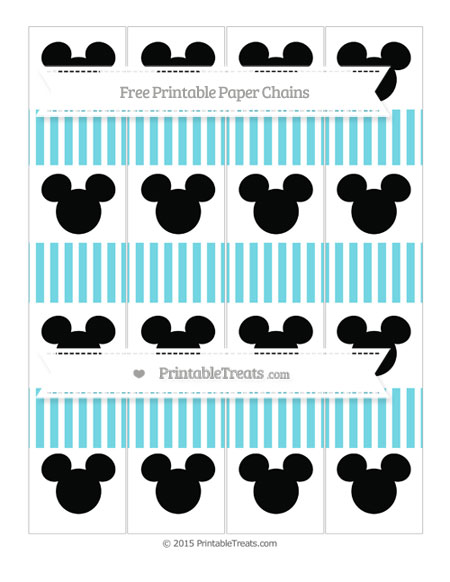 Free Pastel Teal Thin Striped Pattern Mickey Mouse Paper Chains