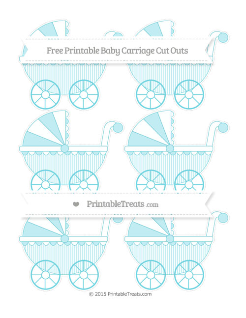 Free Pastel Teal Thin Striped Pattern Small Baby Carriage Cut Outs