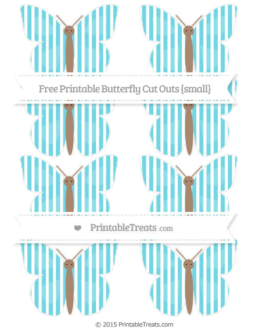 Free Pastel Teal Thin Striped Pattern Small Butterfly Cut Outs
